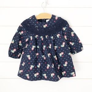 Baby Gap Dress 12-18 months Navy Floral Casual